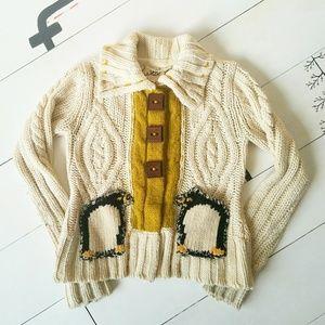 Anthropologie Field Flower Penguin Sweater